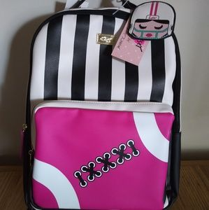 Betsey Johnson LbPlay Football Backpack w Charm